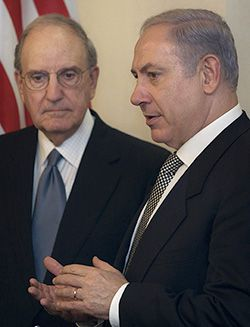 Talking: U.S. Middle East Envoy George Mitchell (left) meets with Benjamin Netanyahu in Jerusalem on December 13 as part of his renewed mission of shuttle diplomacy.