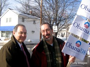Taking to the Streets: Rep. Paul Hodes (left) campaigns in New Hampshire with fellow Barack Obama supporter Allan Cantor.