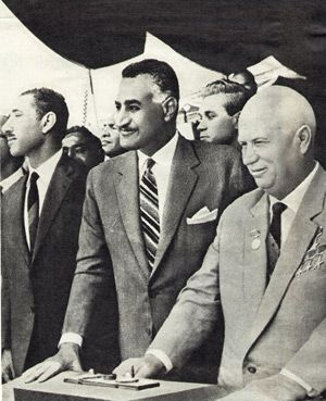 Players: Gamal Abdel Nasser with Nikita Khrushchev.