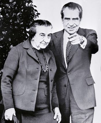 Friend or Foe? President Richard Nixon meets with Israeli Prime Minister Golda Meir in Washington in November 1973.