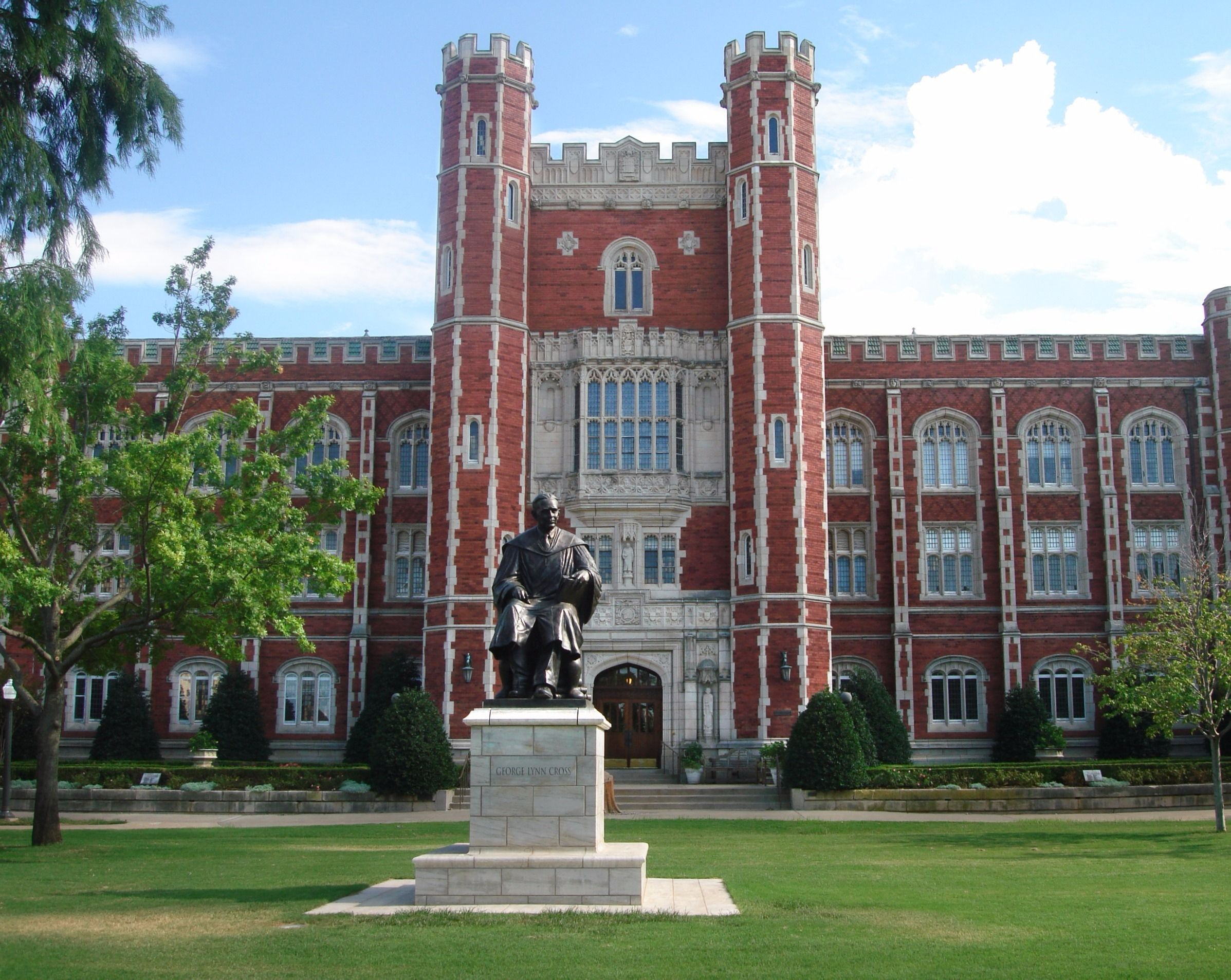 Evans Hall and the George Lynn Cross Monument at the University of Oklahoma