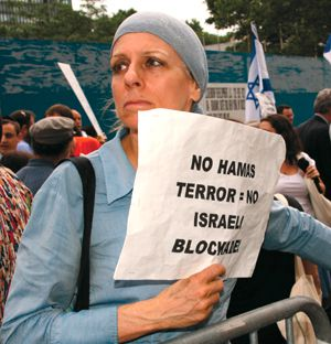 Defense: A pro-Israel protester at a rally in front of the Turkish consulate in New York City.