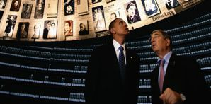 President Barack Obama tours Yad Vashem with the Holocaust museum's chairman, Avner Shalev, while visiting Israel on July 23, 2013