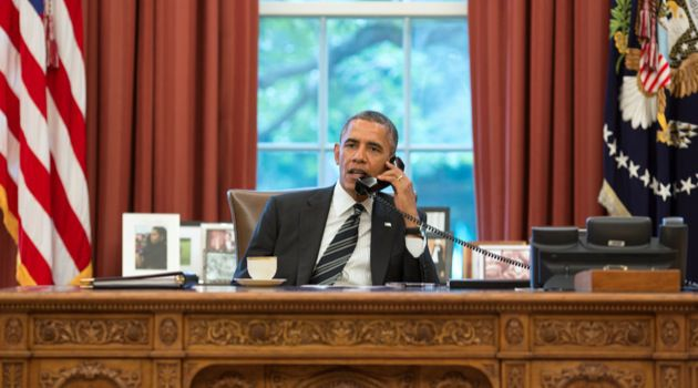 On the Same Line: President Obama speaks over the phone with President Rowhani of Iran.