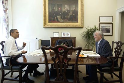 Kosher Summit: President Obama has lunch with Elie Wiesel in the Oval Office private dining room May 4. Story on Page 5.