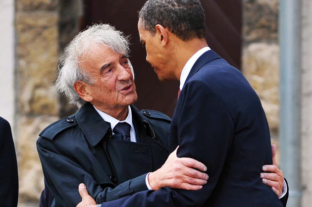 High Hopes: Obama and Wiesel embrace at Buchenwald.