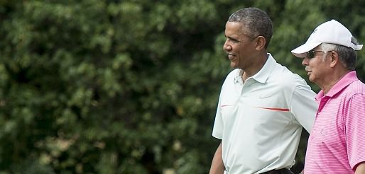 President Barack Obama plays golf.