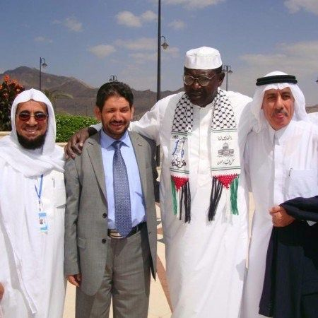 President Barack Obama's half-brother Malik, pictured in Palestinian headscarf known as keffiyeh.