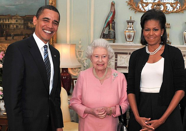 ROYAL TIME: On their European tour, the Obama?s met Queen Elizabeth, pictured here without any touching.