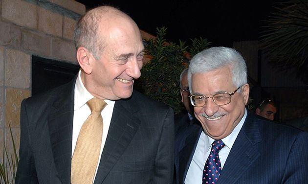 Talks: Israeli Prime Minister Ehud Olmert (left) and Palestinian President Mahmoud Abbas meet in Jerusalem in 2008.