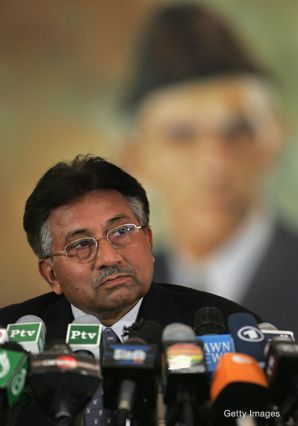A Portrait of Pakistan's founder, M.A. Jinnah, hangs behind embattled President Pervez Musharraf at a recent press conference.