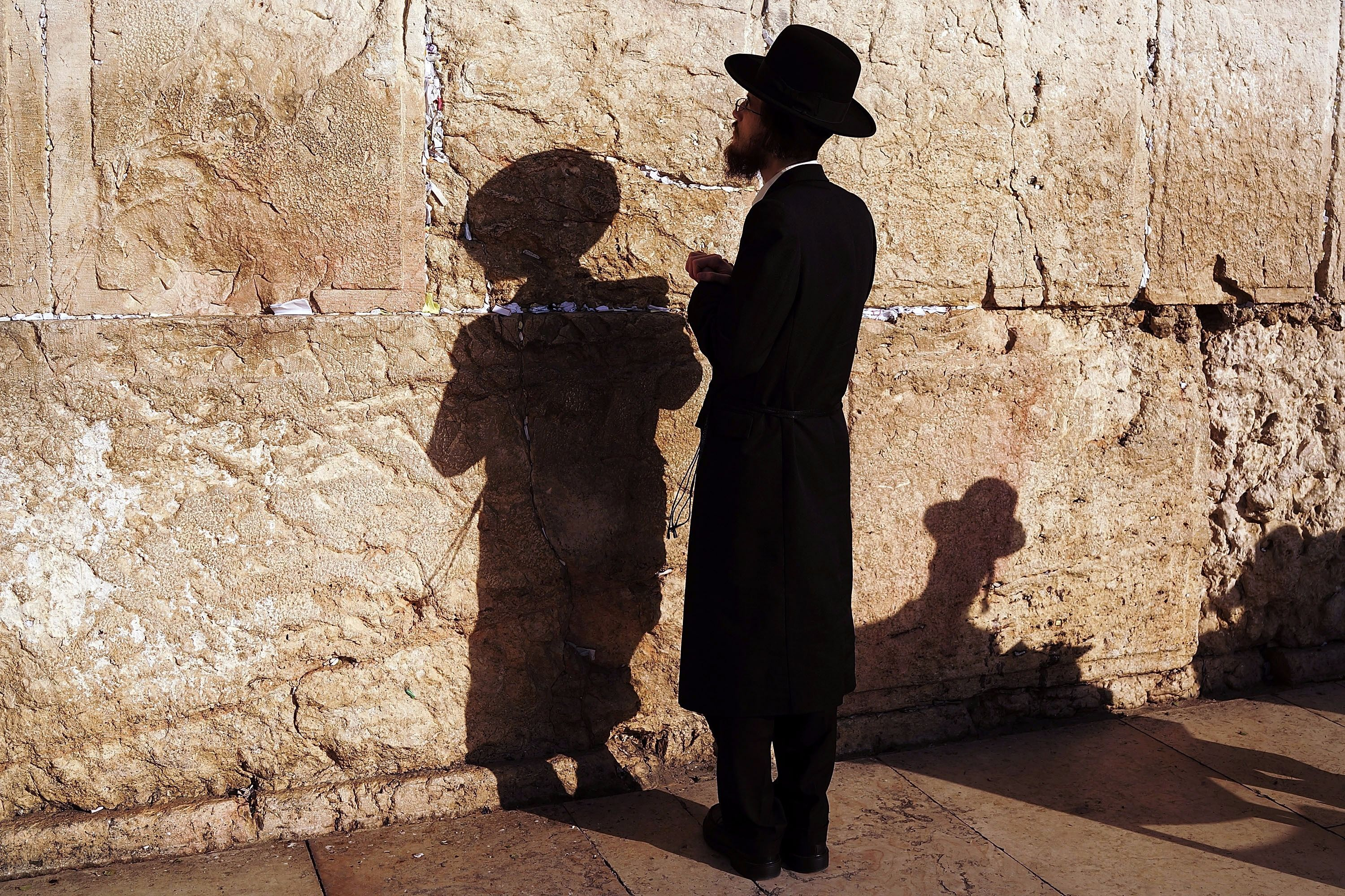 An Orthodox man prays at the Western Wall in the Old City of Jerusalem.