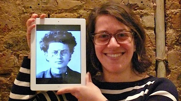 Meet the Uncle: The author, Tamara Micner, holds a photo of young Leon Trotsky.