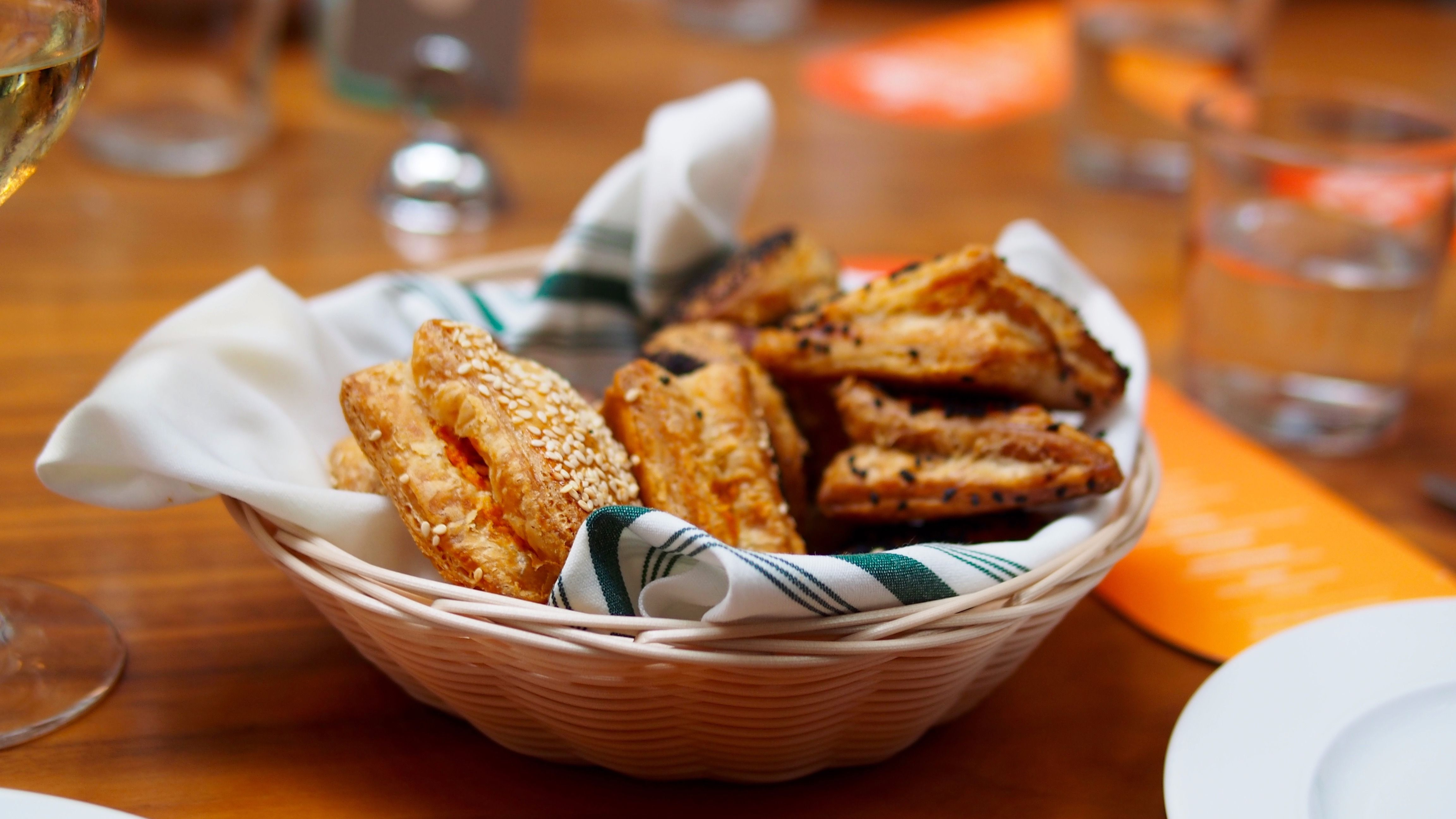 The bread basket included date and hazelnut rugelach and three types of bourekas.
