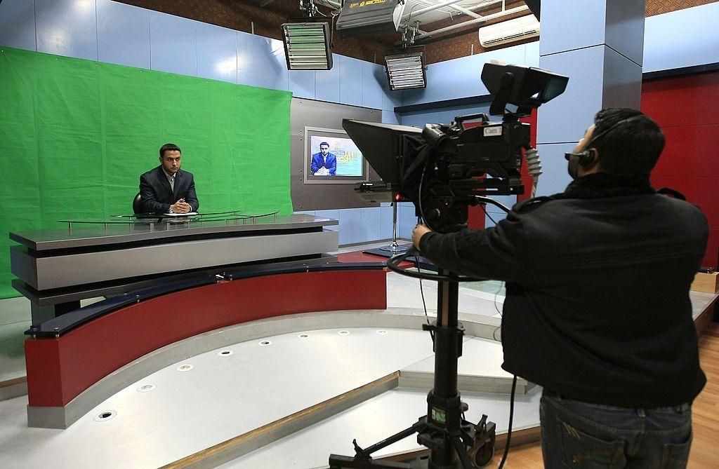 Al-Aqsa Television's studio in Gaza City.
