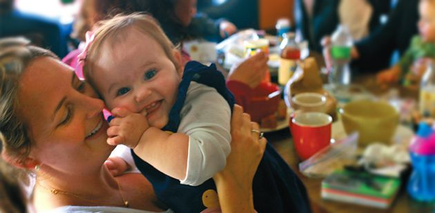 No Torah Talk: Amy Kohen (with daughter Ellie), a Boston-area ?parent-connector? hired by the Jewish Family Network to link otherwise unaffiliated families to the Jewish community, hosts a non-religious meeting of young moms at a local coffee shop.