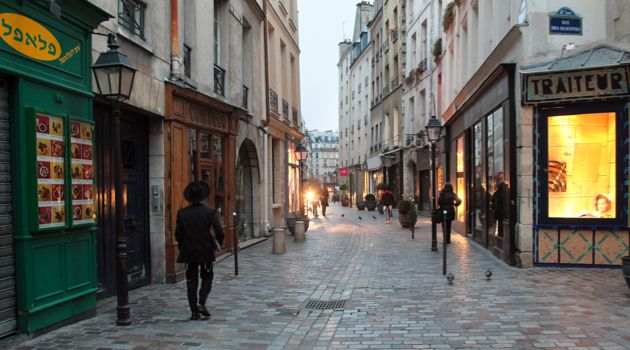 Hints of Williamsburg: A street scene in the Marais, the historic Jewish neighborhood in Paris.