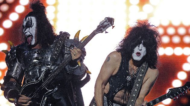 The Tongueless One: Paul Stanley (right) performs with bandmate and fellow tribesman Gene Simmons.