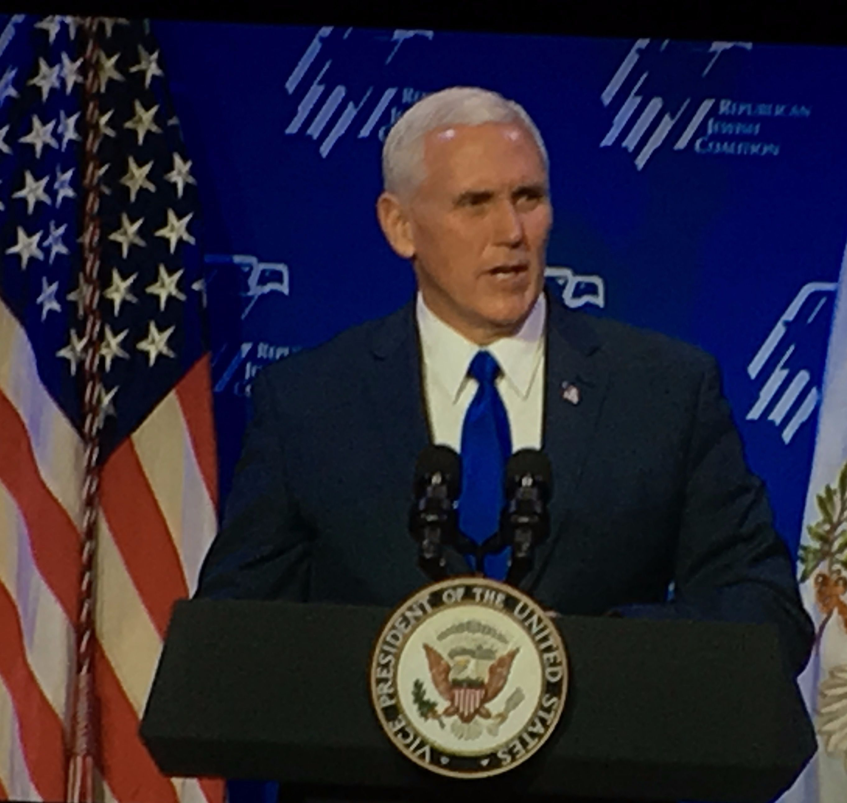 Vice President Mike Pence at the Republican Jewish Coalition meeting in Las Vegas, February 24, 2017