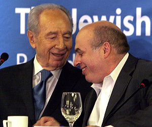 Talking Peoplehood: President Shimon Peres and Natan Sharansky enjoying the most recent Board of Governors meeting, which took place in Jerusalem in late February.