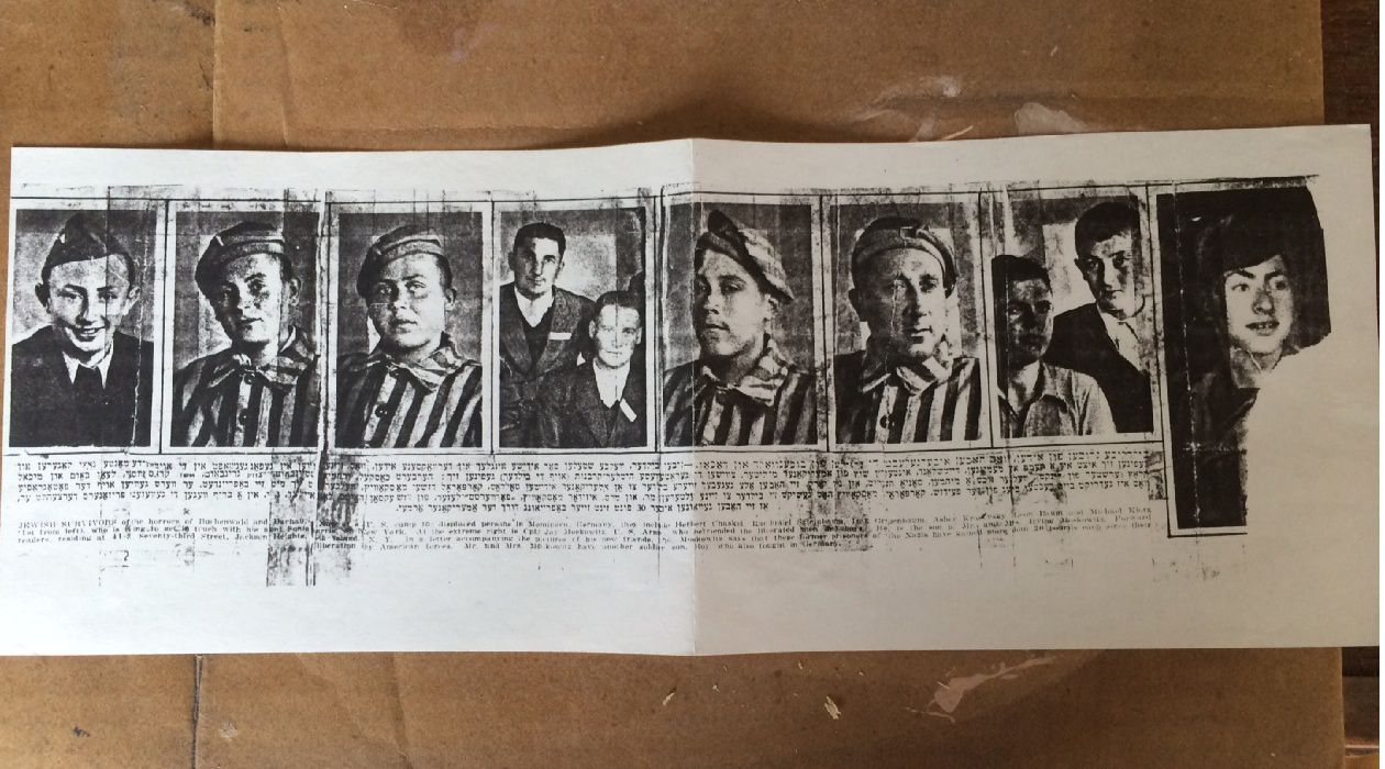 From the Forverts: Among the surviving victims of Hitler shown in these images are: Herbert Chaskel, Yerachmiel Szteinbaum, Yitzchak Grinbaum, Asher Krasavsky, Leon Baum and Michael Klotz (first on left) who seeks his aunt, Sonya Harris in New York. They all gave their photos to Corporal Jay Moskowitz who can be seen in the image published on the right hand edge of the page. Corporal Moskowitz sent the images to his parents, Mr. and Mrs. Isidore Moskowitz, 'Forverts' readers, from Jackson Heights, Long Island NY.