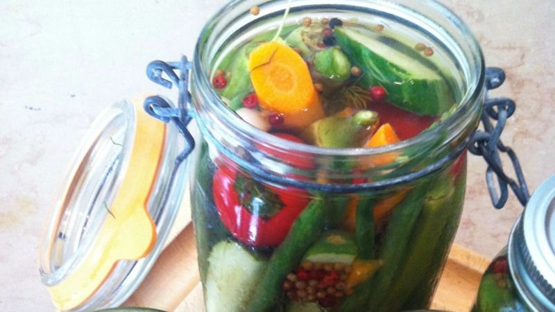 Homemade pickled vegetables