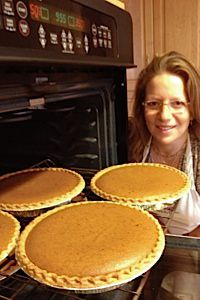 Pie Queen: Adeena Sussman poses with pumpkin pies she baked for her charity fundraiser, Pies for Prevention.