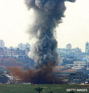THE HORIZON: Smoke billows from a location that the Israel air force targeted in the Gaza Strip. Dovish Jewish groups have called for Israel to push for an immediate cease-fire in the Gaza conflict.