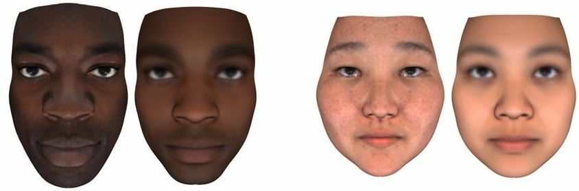 A graphic from the PNAS study, showing facial scans on the left and predictions from DNA data on the right.