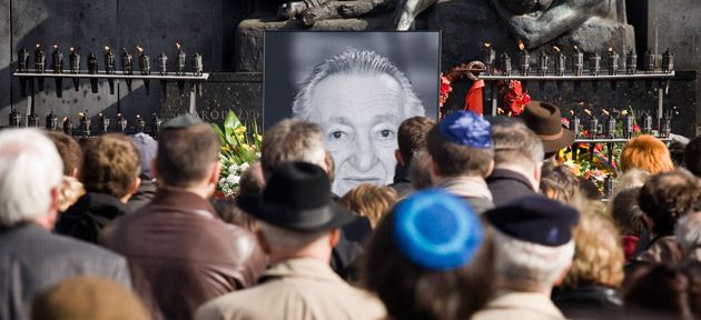 No Words: Mourners gather in Warsaw to commemorate Marek Edelman, shortly after his death in October 2009.