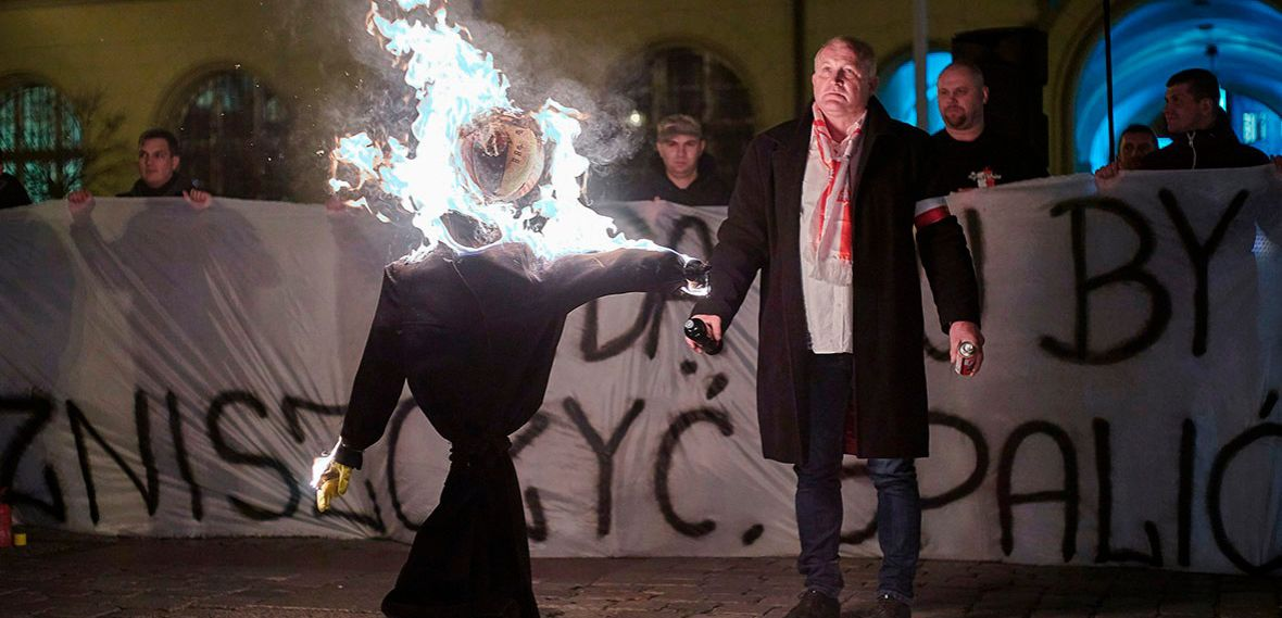 Rage and a Non Sequitur? To protest against the immigration of Muslims and Syrian refugees, demonstrators in Wroclaw on November 18 burn an Orthodox Jew in effigy.