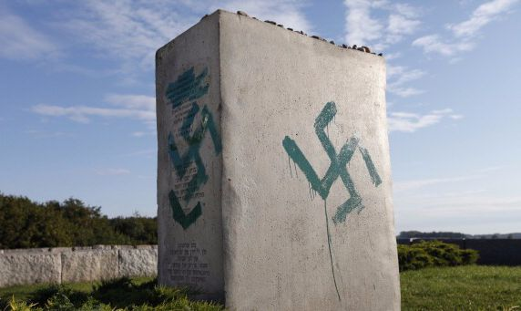 A monument recognizing a pogrom in Poland.