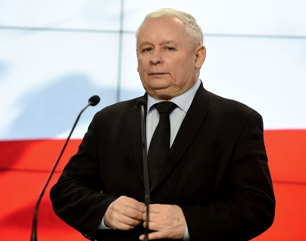 The leader of Poland's governing right-wing Law and Justice Party, Jaroslaw Kaczynski, gives a press conference in Warsaw on March 13, 2017.