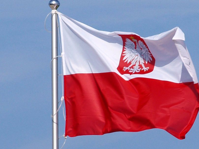 Polish flag with coat of arms