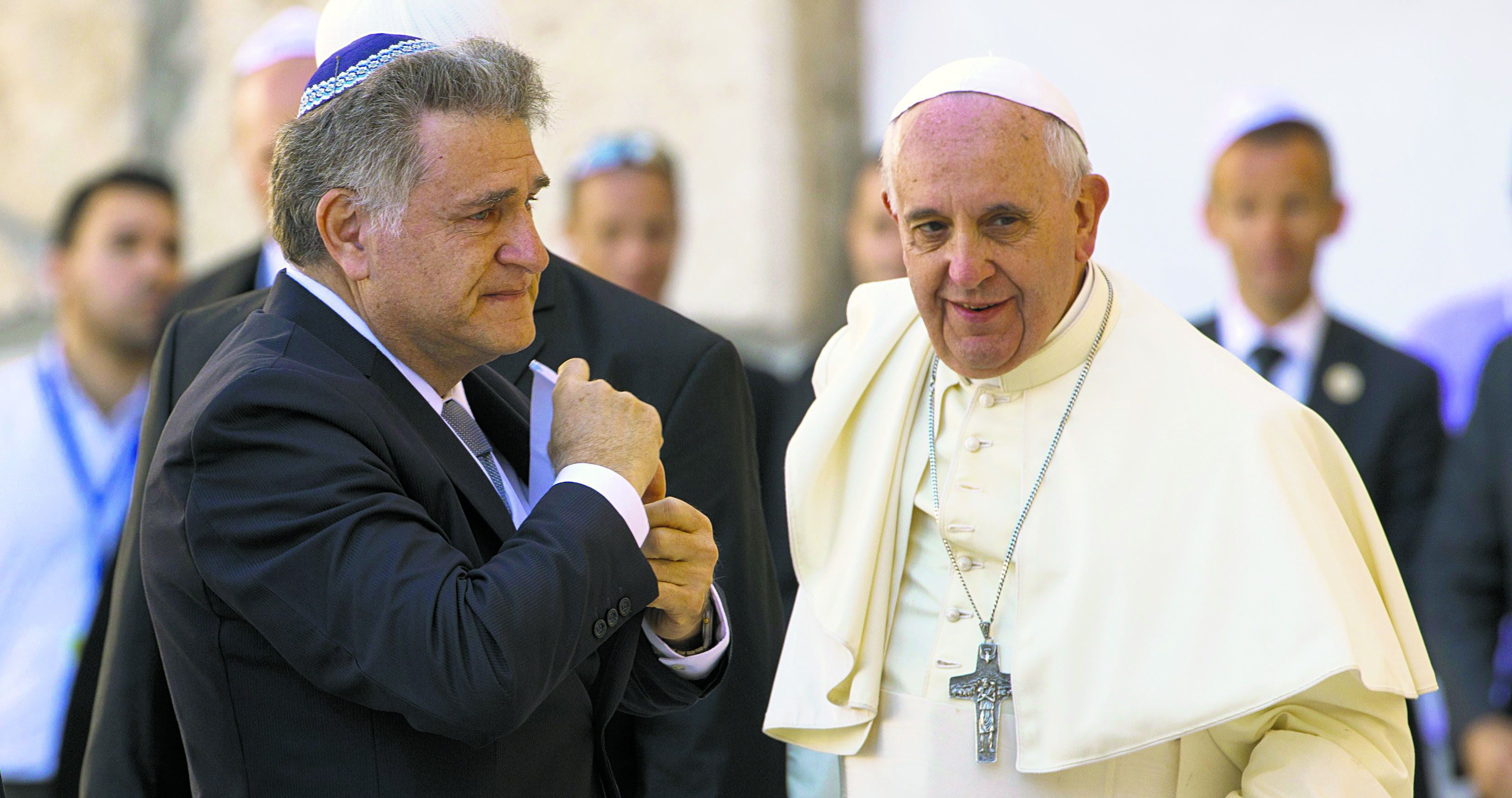 Compadres:  Pope Francis with his longtime friend, Rabbi Abraham Skorka, following the pope's May 2014 visit to the Western Wall in Jerusalem.