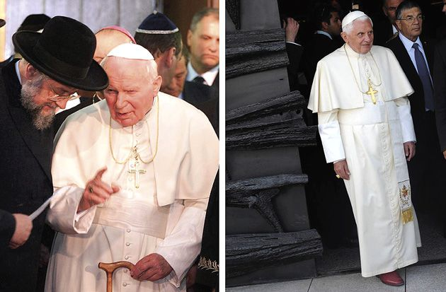 A Tale of Two Pontiffs: Popes John Paul II (left) and Benedict XVI both spoke at Yad Vashem, but where the former won plaudits, the latter has been panned.