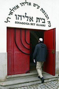 A Jewish man enters the Sinagogue Bet Eliahu of Belmonte, north of Lisbon.