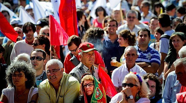 Portuguese workers gather in Lisbon to protest the government?s austerity measures.