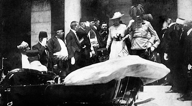 Fateful Ride: Archduke Franz Ferdinand of Austria-Hungary and his wife Sophie on the day of their assassination, June 28, 1914, in Sarajevo.