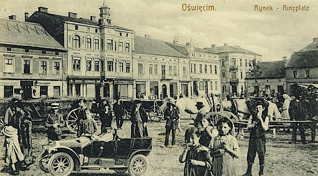 Shopping in Auschwitz: Many homes and shops near Oswiecim's market square were owned by Jews. During the German occupation, Rynek (ring square) was renamed Adolf Hitler Platz.