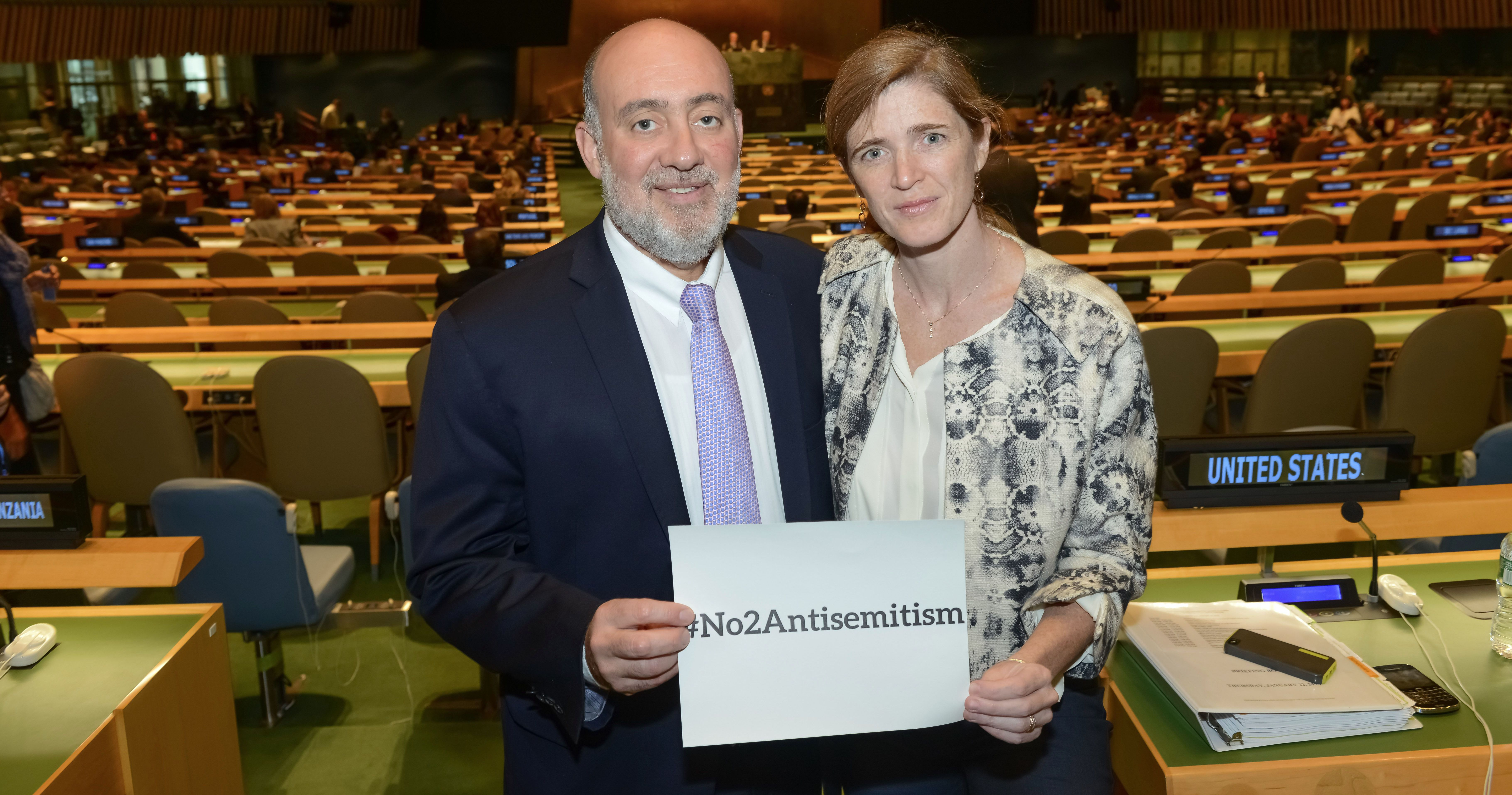 Ron Prosor, Permanent Representative of Israel to the UN and Samantha Power, Permanent Representative of the United States to the UN.