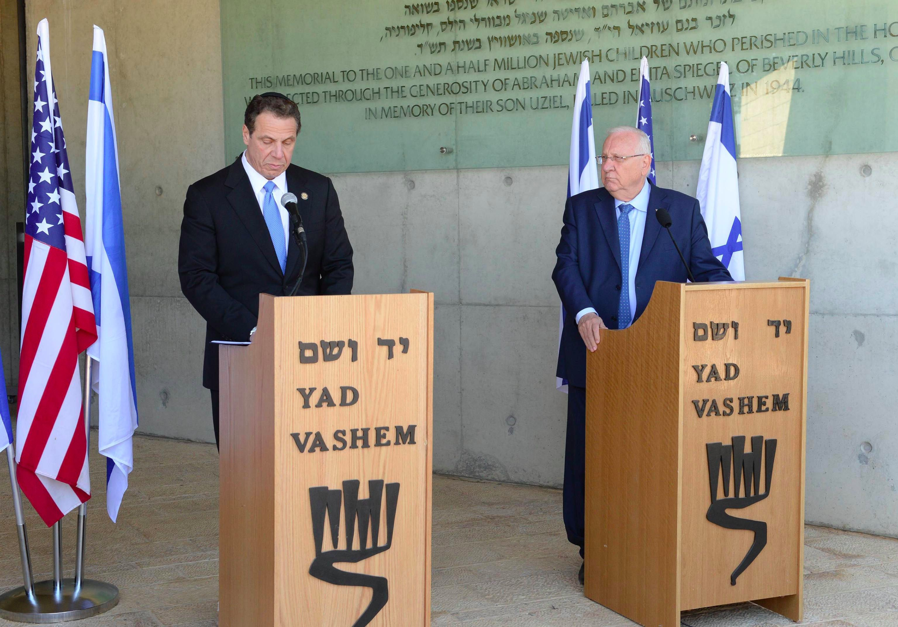 New York Governor Andrew Cuomo (left) and Israeli President Reuven Rivlin