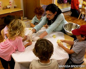SPECIAL KNEADS: Sheva Roitblat helps 3-year-olds in the Chai Tots program in Brooklyn?s Windsor Terrace make challah for the Sabbath.