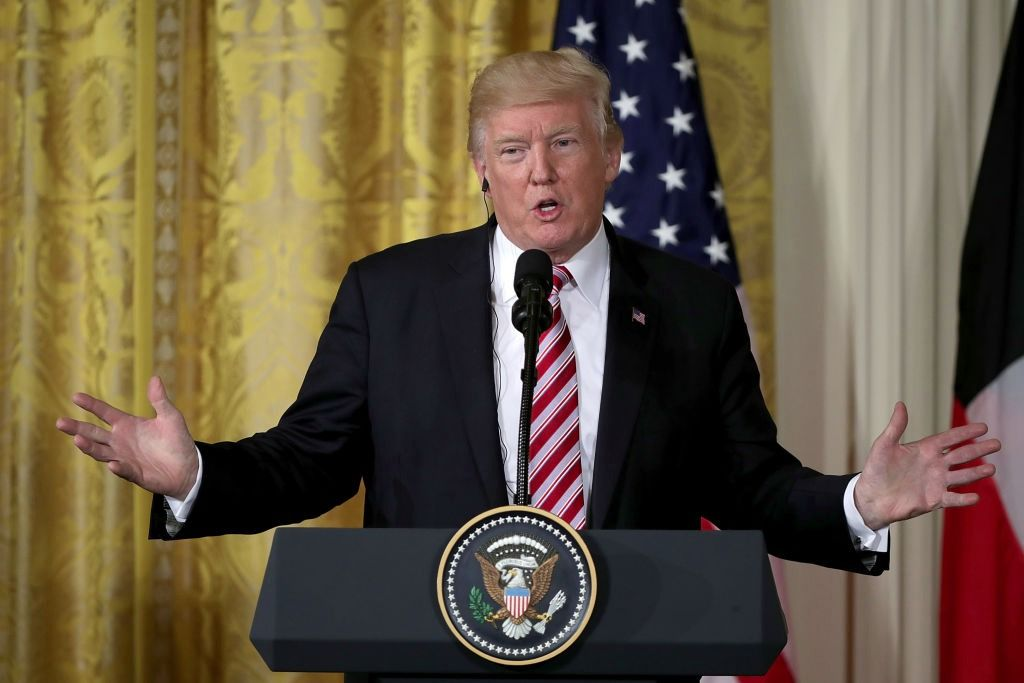 U.S. President Donald Trump answers reporters' questions during a joint news conference with Amir Sabah Al-Ahmad Al-Jaber Al-Sabah of Kuwait in the East Room of the White House, September 7, 2017.