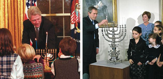 Candle-Lighter in Chief: President Bill Clinton brought menorah-lighting into the Oval Office, as he did at left in 1996, while President George W. Bush, pictured at right in 2001, was the first president to host official White House Hanukkah parties.