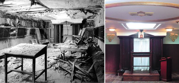 Before and After: The synagogue, left, in the late 1990s, and right, following the restoration.