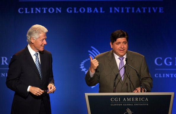 J.B. Pritzker introduces former president Bill Clinton in Chicago.