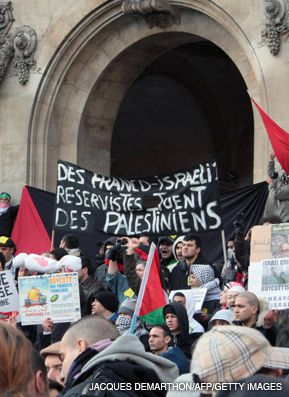 PROTESTERS IN PARIS: Demonstrators gather outside the Opera Garnier on January 17 to protest Israel's military action against Hamas in Gaza.