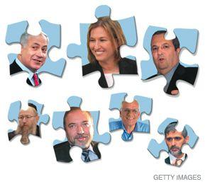 POLITICAL PUZZLE: Among the possible pieces in a coalition are, starting clockwise on top left: Benjamin Netanyahu (Likud), Tzipi Livni (Kadima), Ehud Barak (Labor), Eli Yishai (Shas), Haim Oron (Meretz), Avigdor Lieberman (Yisrael Beiteinu) and Ya?akov Litzman (United Torah Judaism).