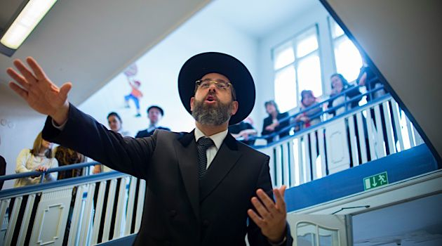 On Top For Now: Chief Ashkenazi Rabbi Blau speaks at a Jewish school in Berlin.